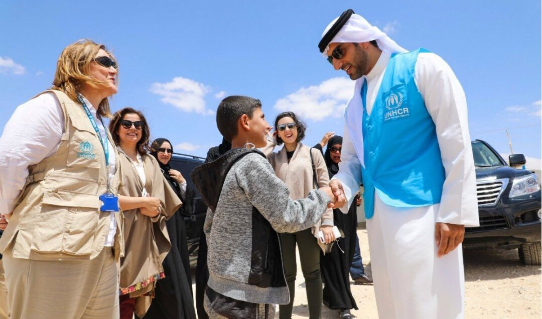 sheikh sultan bin ahmed al qasimi during his visit to al zaatari camp