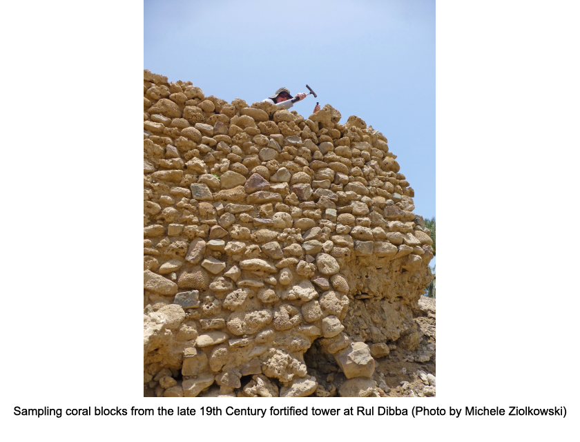 sampling coral blocks from the late 19th century fortified tower at rul dibba (photo by michele ziolkowski)