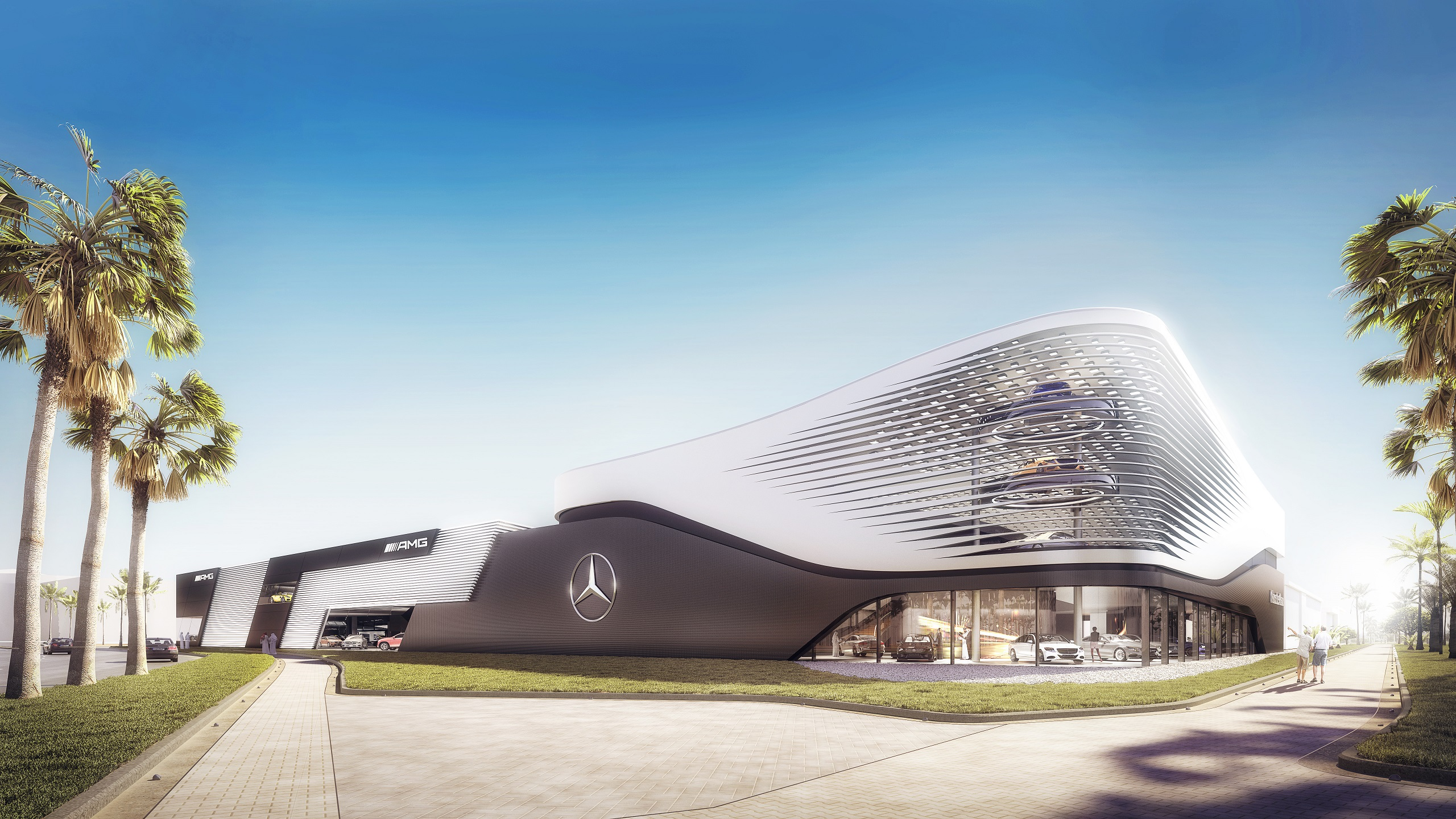 mercedes-benz and amg showroom on yas island