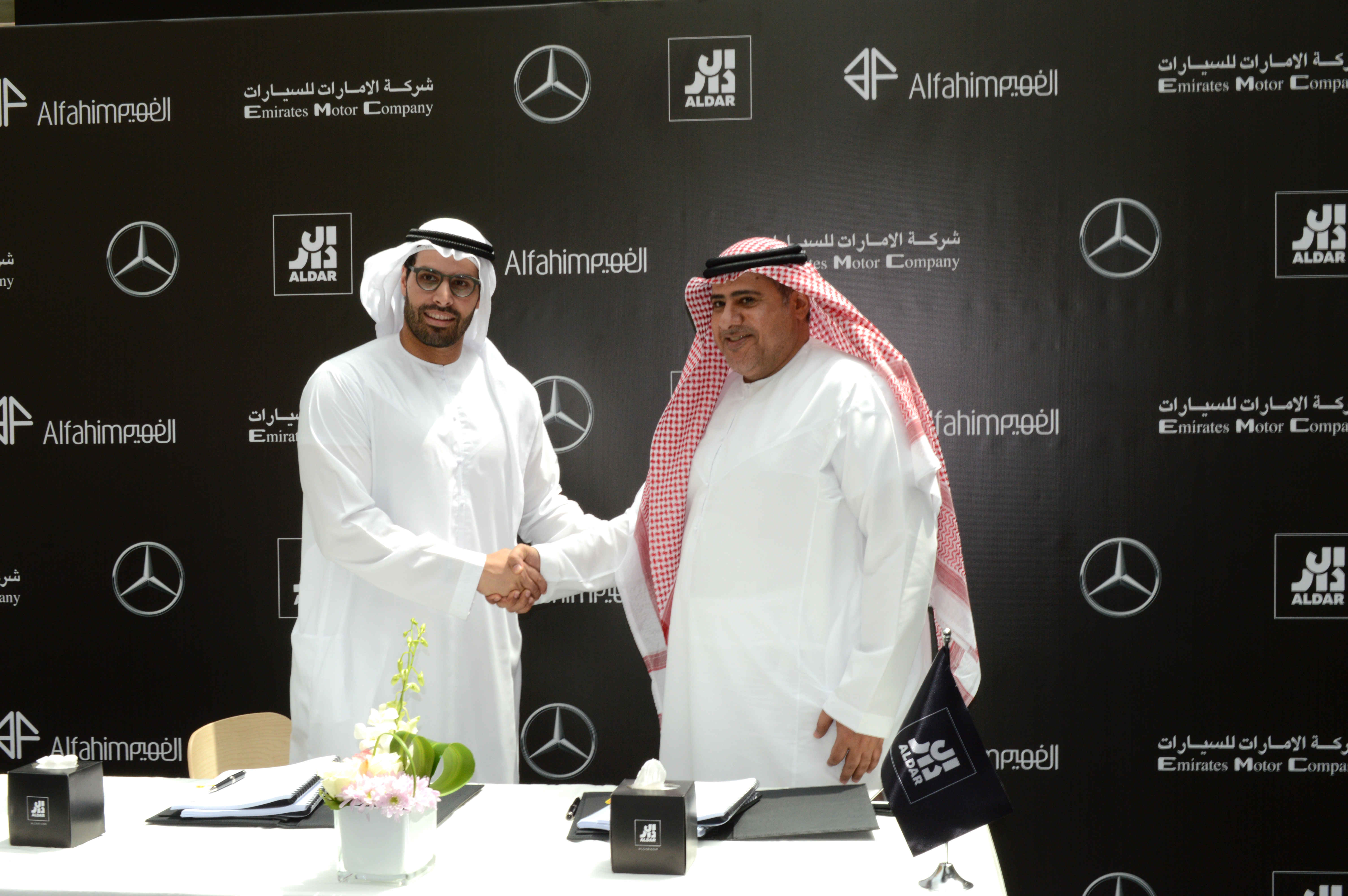 aldar signs up al fahim group for a first of its kind mercedes-benz and amg showroom on yas island
