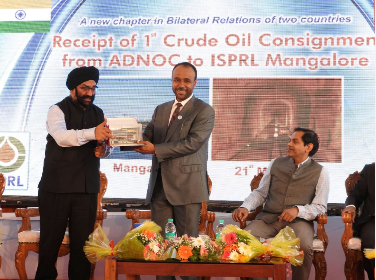 adnoc, isprl celebrate arrival of first crude oil shipment for mangalore strategic reserve2