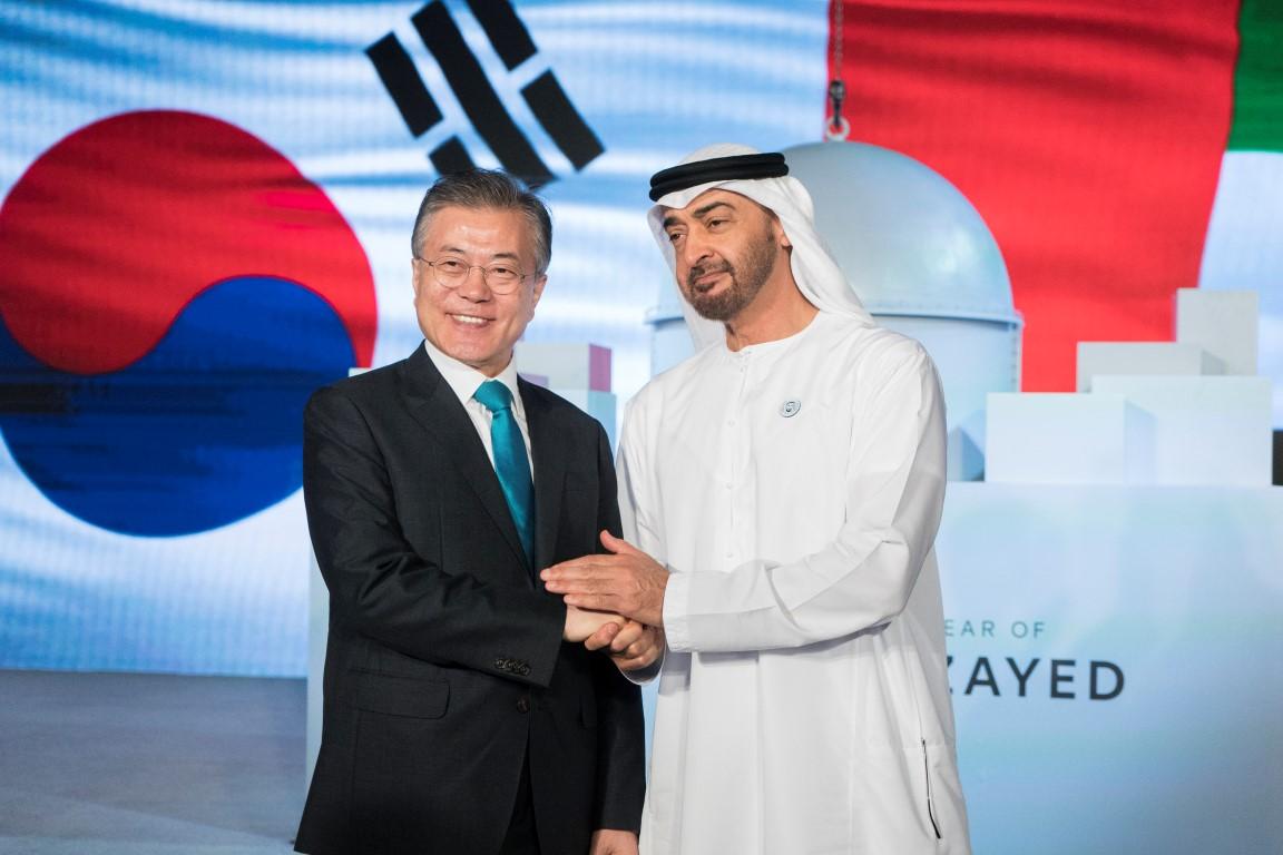 محمد بن زايد والرئيس الكوري يشهدان الإعلان عن اكتمال الأعمال  الإنشائية للمحطة النووية الأولى في براكة. 11