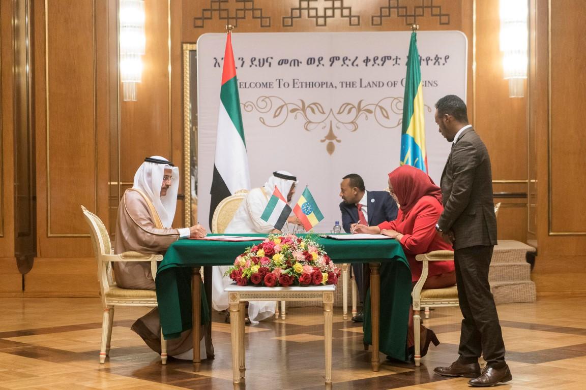 محمد بن زايد وأبي أحمد يشهدان توقيع مذكرات تفاهم بين الإمارات  وأثيوبيا. 5