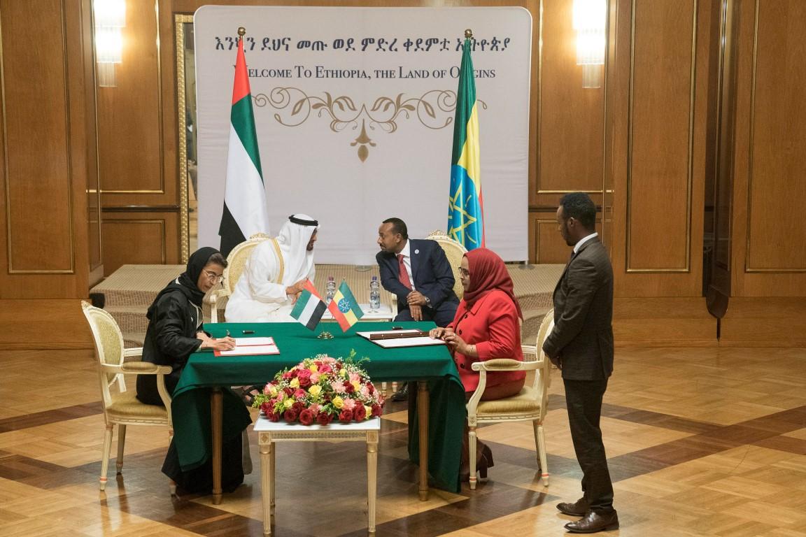 محمد بن زايد وأبي أحمد يشهدان توقيع مذكرات تفاهم بين الإمارات  وأثيوبيا. 3