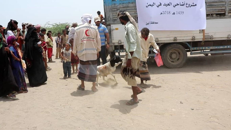 أكثر من نصف مليون يمني يستفيدون من أضاحي الهلال .  4