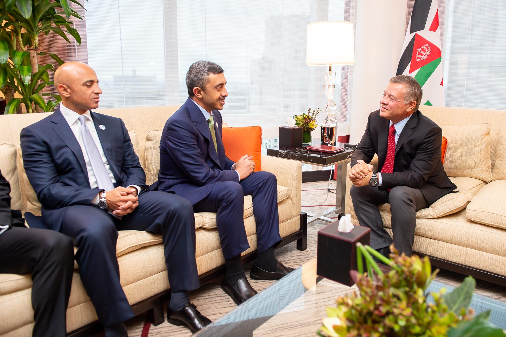 ملك الأردن يستقبل عبدالله بن زايد في نيويورك 3