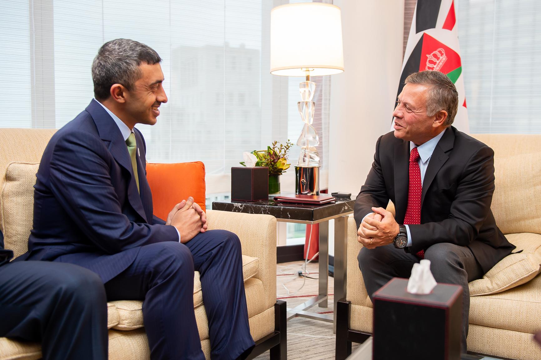 ملك الأردن يستقبل عبدالله بن زايد في نيويورك 4