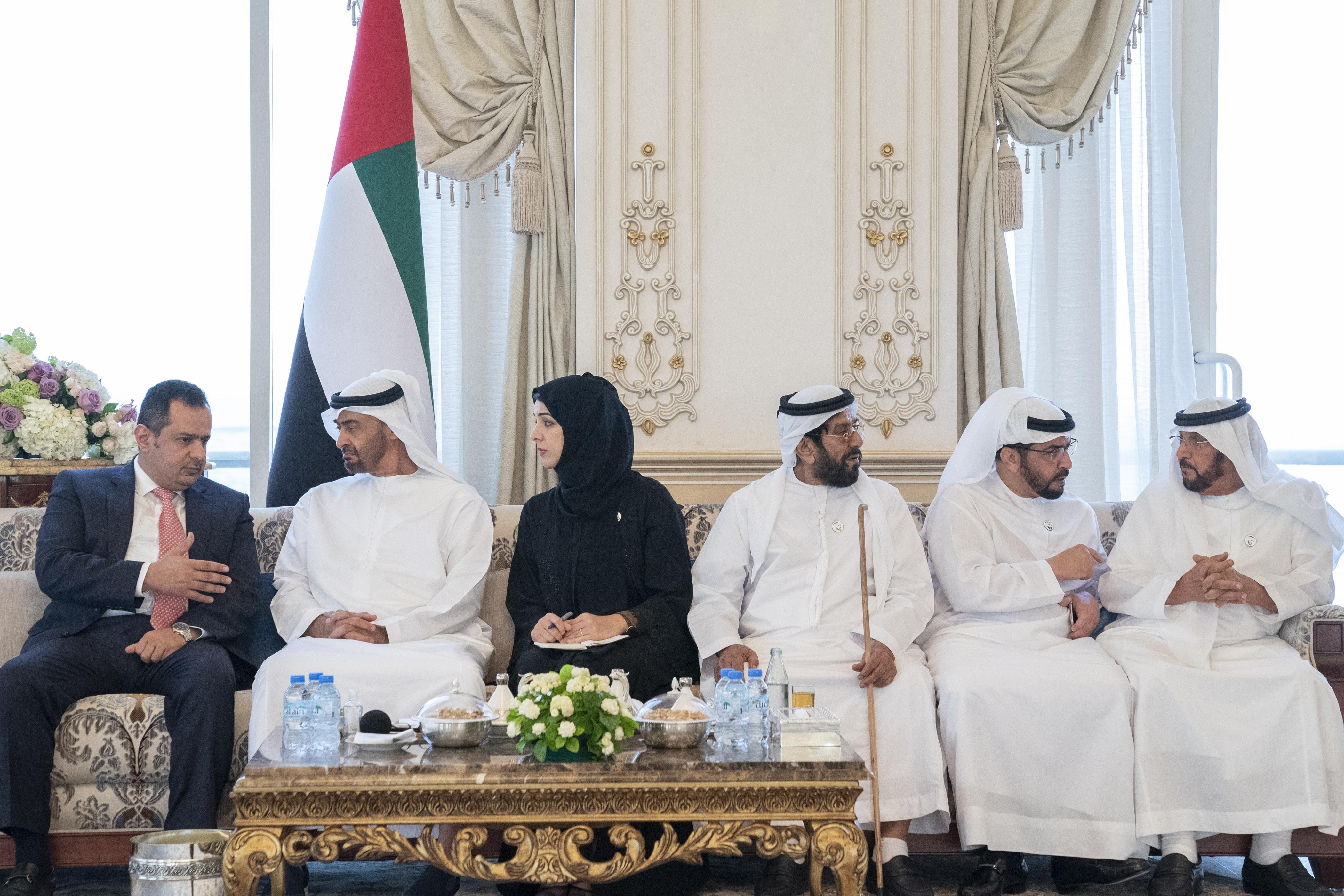 محمد بن زايد يستقبل رئيس الوزراء اليمني