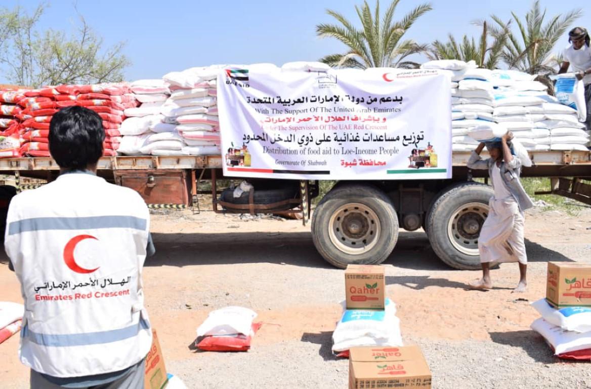 مساعدات إغاثية إماراتية لسكان شبوة
