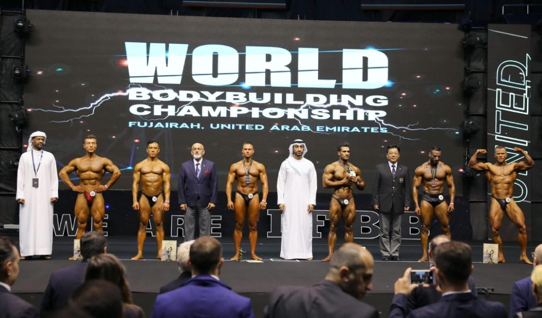 """"""" برمان """" يهدي الإمارات أول ذهبيتين في بطولة العالم لبناء الأجسام في الفجيرة"""