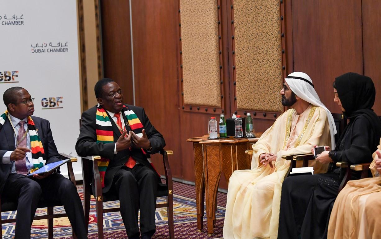 محمد بن راشد يستقبل رئيس زيمبابوي وعددا من المسؤولين على هامش