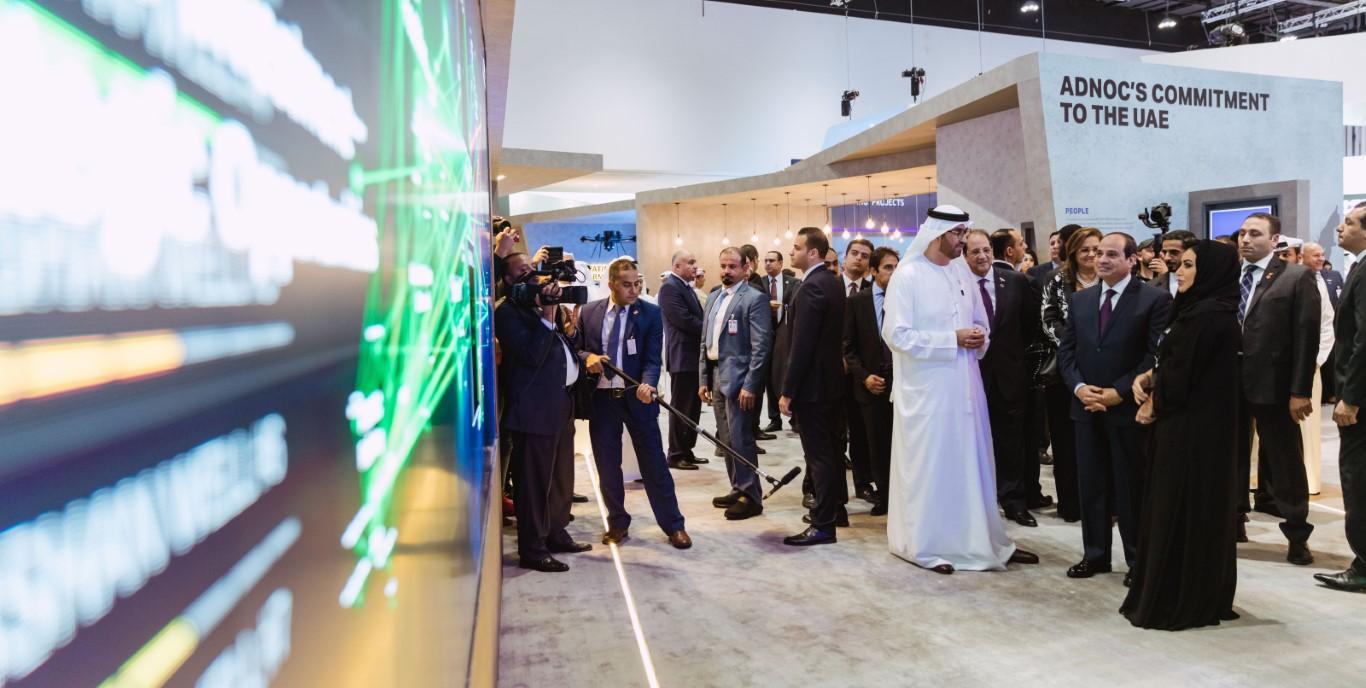 """الرئيس المصري يطلع على مبادرات أدنوك في تطبيق التقنيات الرقمية خلال زيارته لـ """"أديبك"""""""