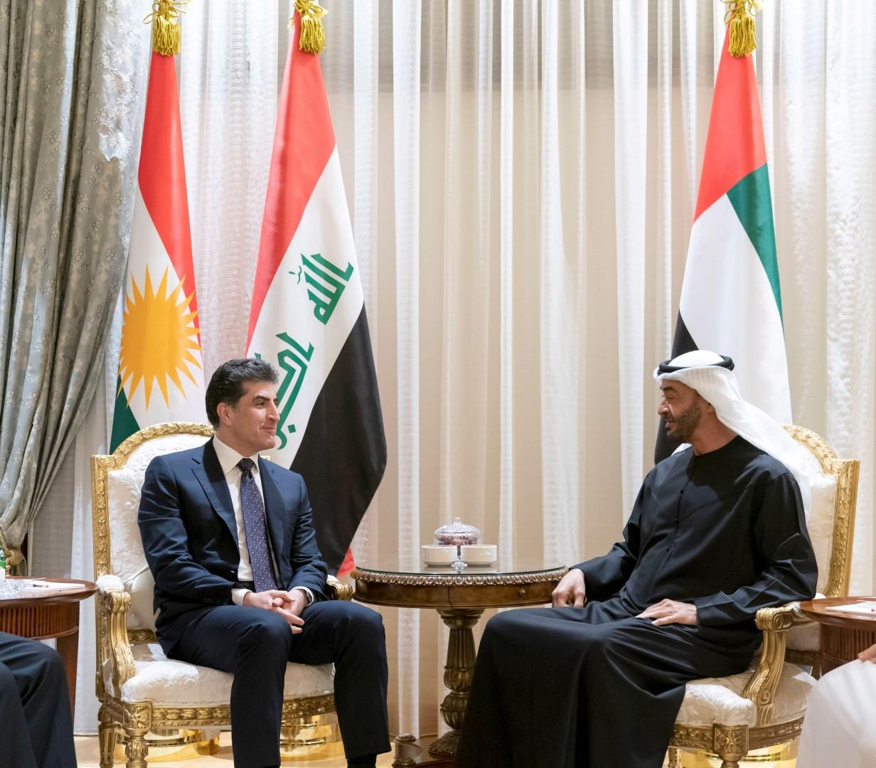محمد بن زايد يستقبل رئيس إقليم كردستان العراق