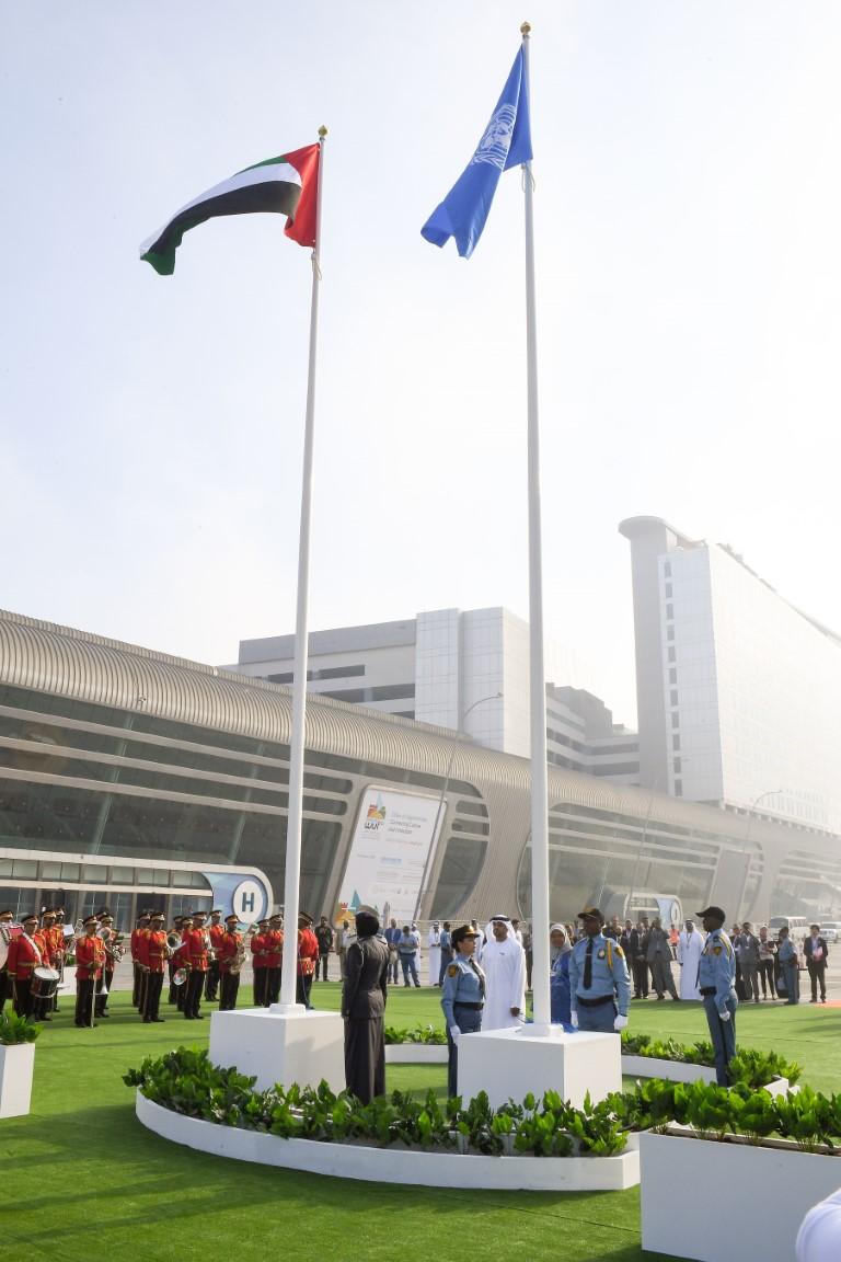 برعاية محمد بن زايد ..انطلاق فعاليات المنتدى الحضري العالمي في أبوظبي برفع علمي الإمارات والأمم المتحدة