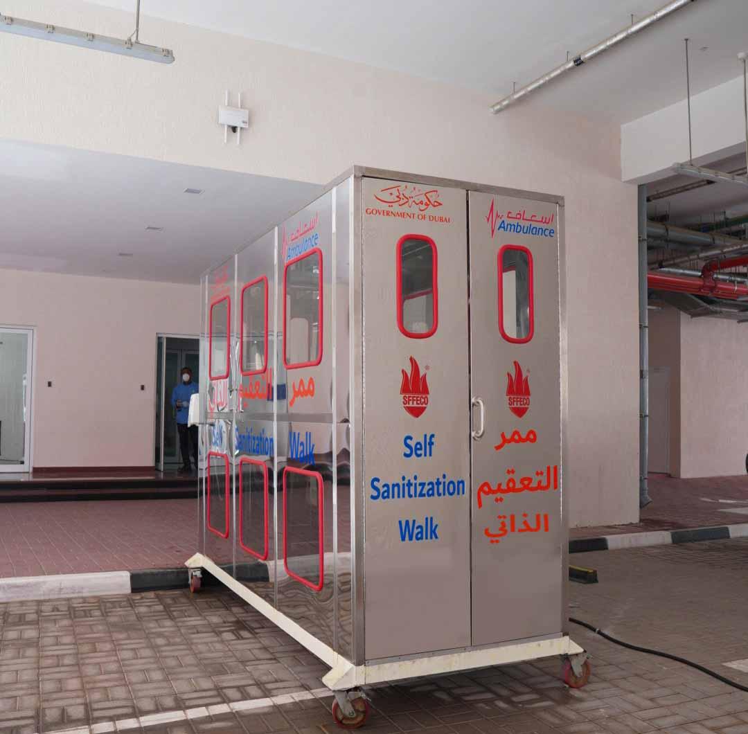 إسعاف دبي تُطلق أول ممر للتعقيم الذاتي للمسعفين والمخالطين لهم