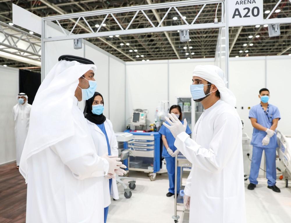 حمدان بن محمد يزور المستشفى الميداني بمركز دبي التجاري و يطلع على استعداداته و تجهيزاته