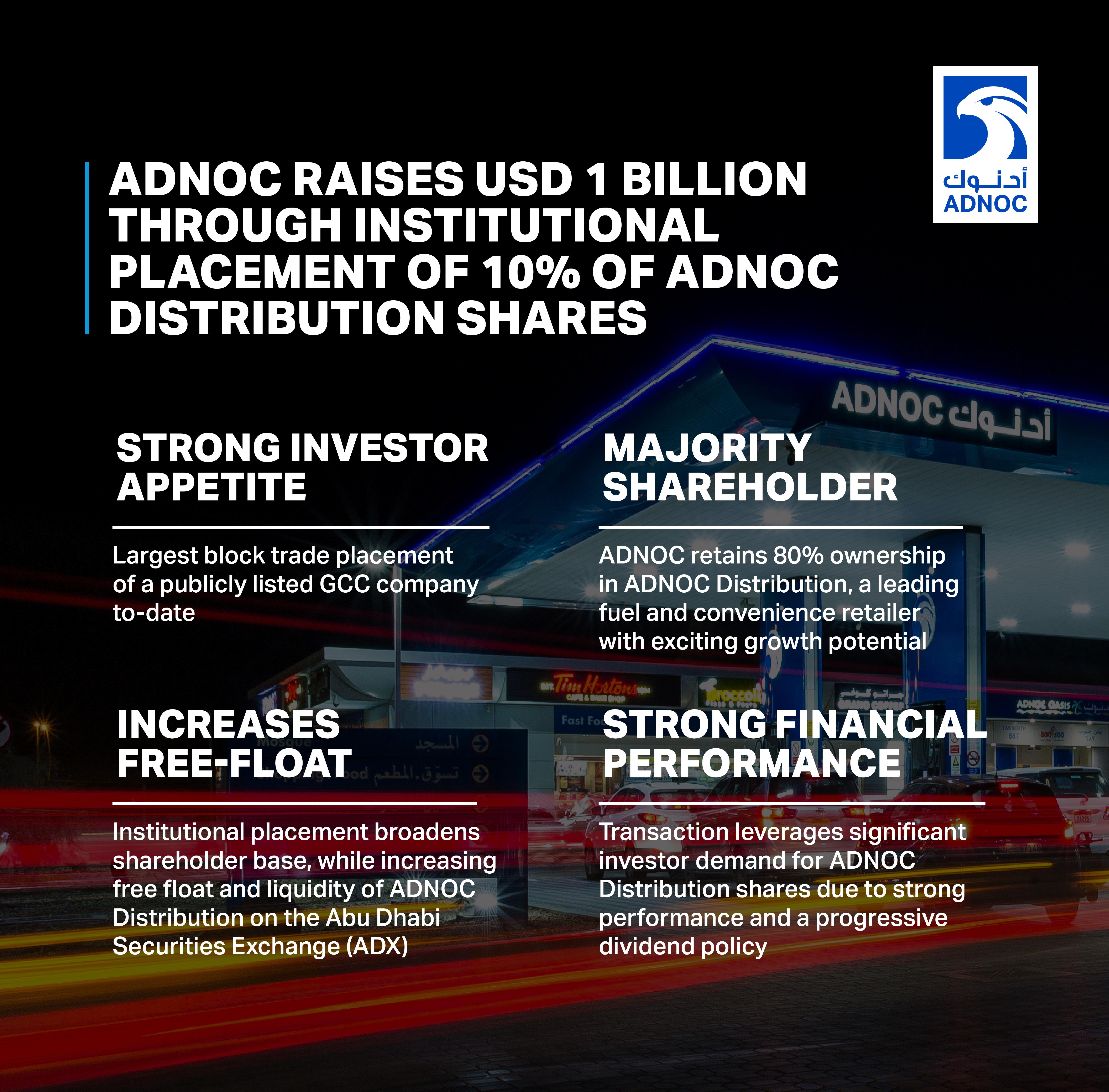 """""""أدنوك"""" تنفذ بنجاح طرحا خاصا بقيمة 3.7 مليار درهم لحصة من أسهم شركة """"أدنوك للتوزيع"""""""