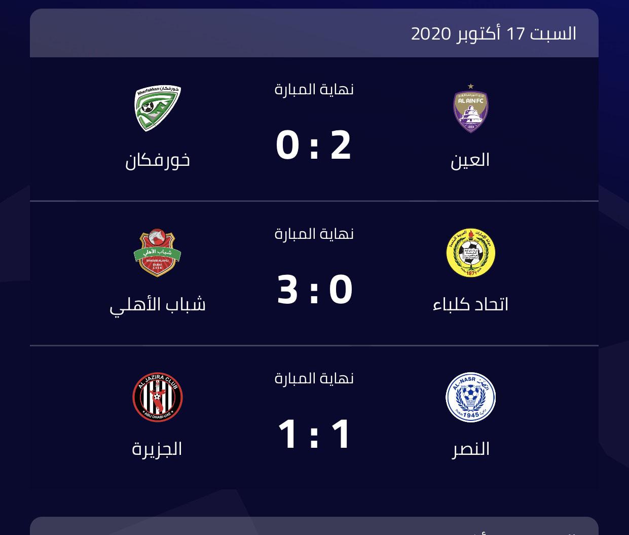 فوز العين وشباب الأهلي وتعادل النصر مع الجزيرة بدوري الخليج العربي