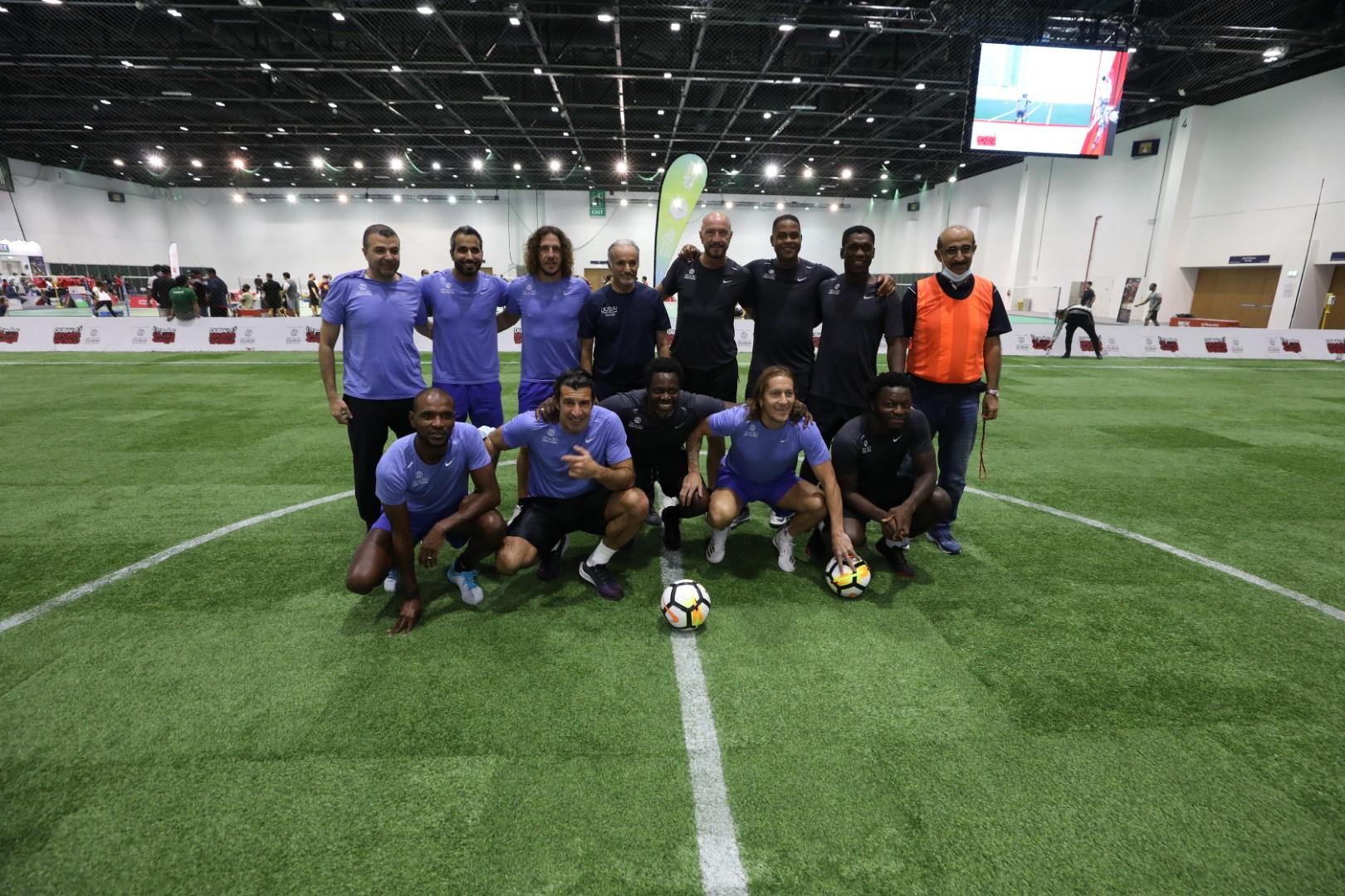 دبي تجمع نجوم الكرة العالمية في مباراة ودية ضمن فعاليات تحدي دبي للياقة