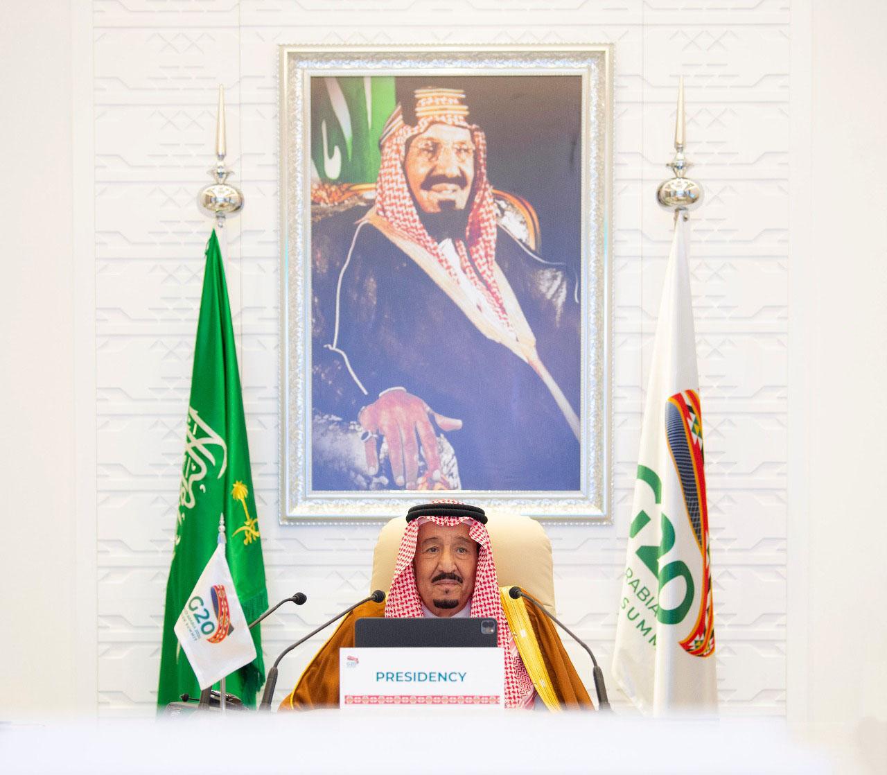 """خادم الحرمين الشريفين : يدعو """"مجموعة العشرين"""" إلى تقديم الدعم للدول النامية والتعاون في مواجهة """"كورونا"""""""