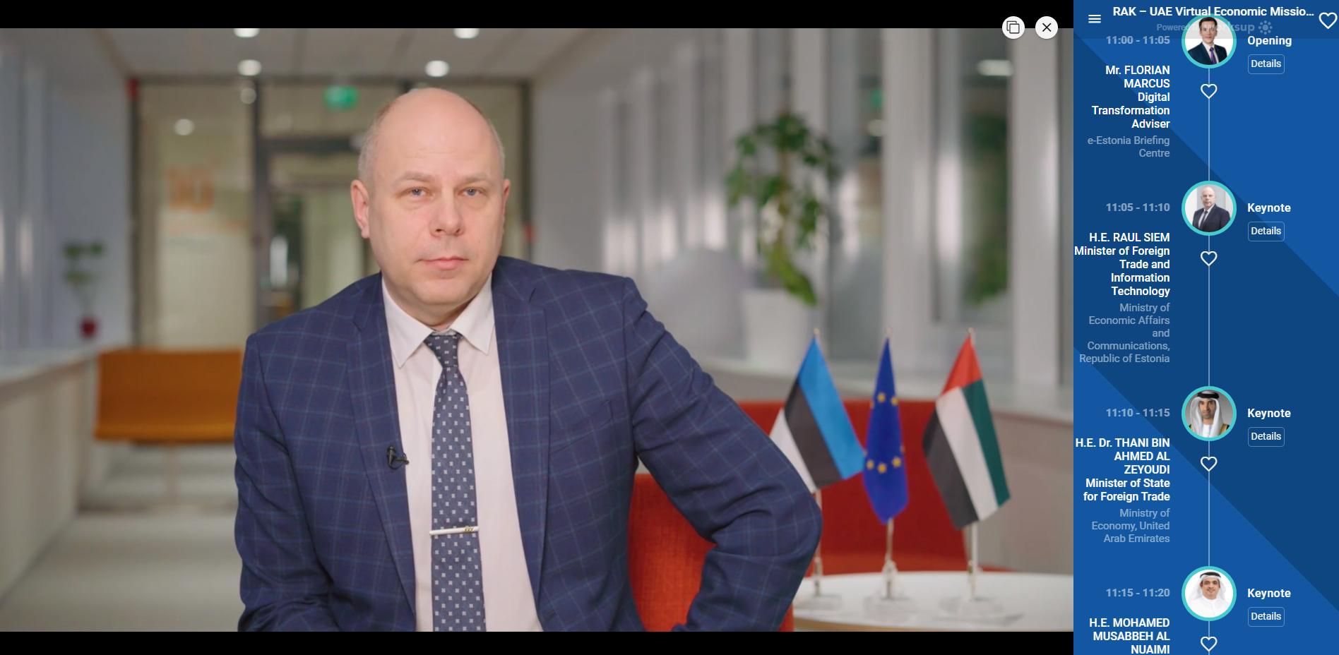 الإمارات واستونيا تبحثان تعزيز العلاقات الاقتصادية