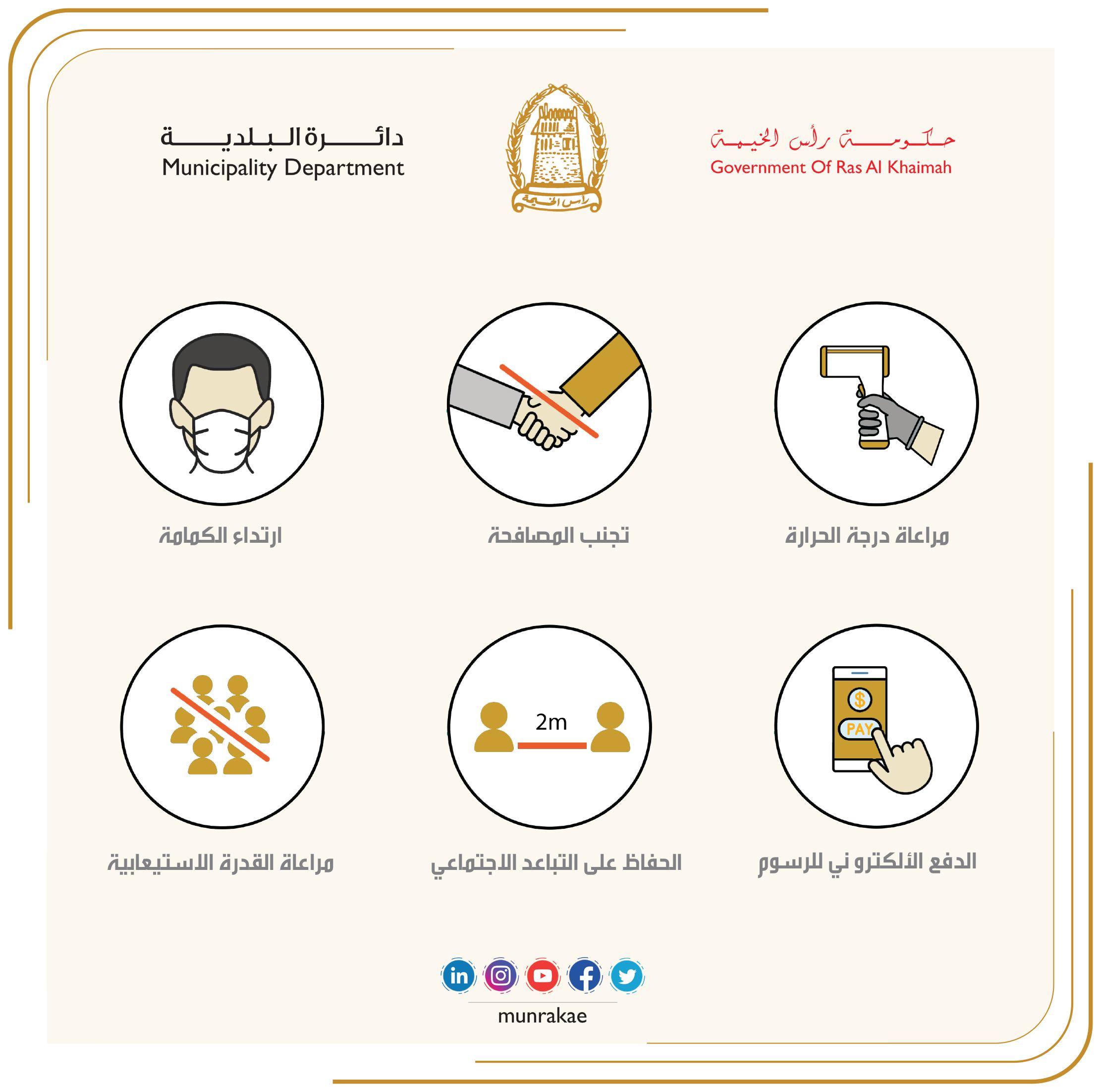 بلدية رأس الخيمة تستقبل المتعاملين ابتداء من يوم غد ضمن شروط وتدابير احترازية ووقائية
