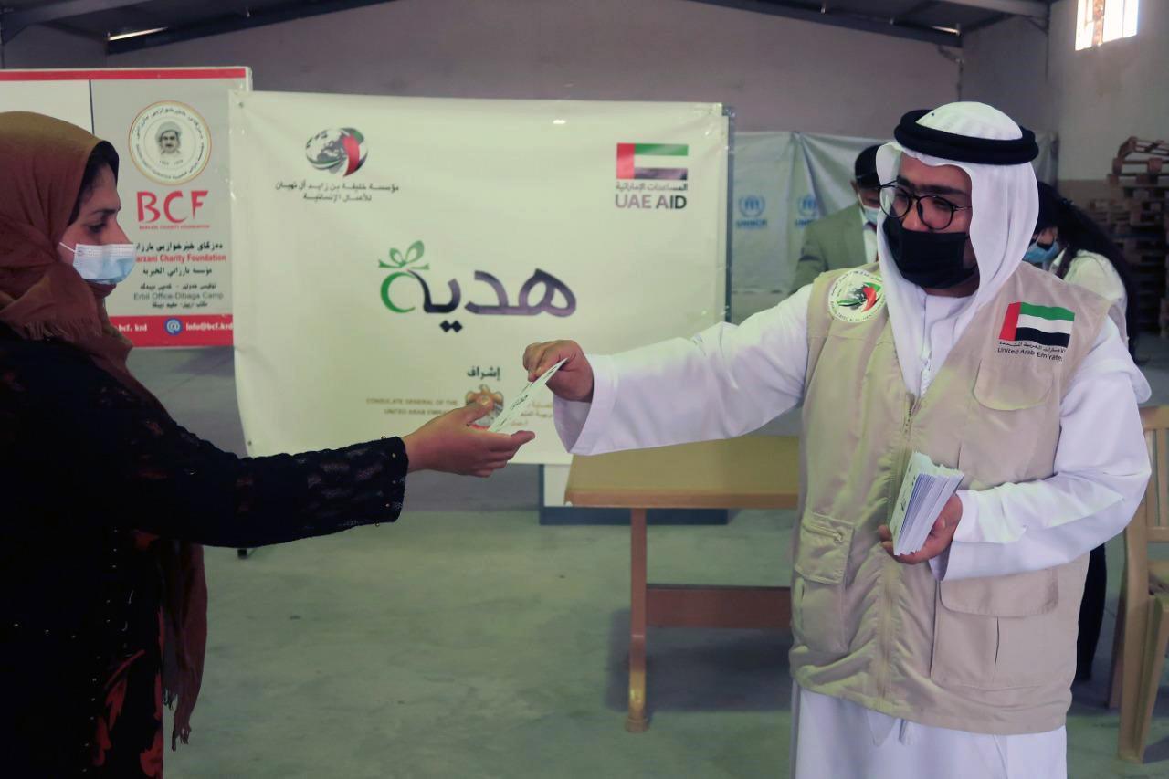"""""""خليفة الانسانية"""" توزع مساعدات في مخيم ديبكة للنازحين العراقيين"""