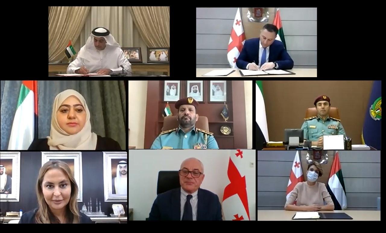 سيف بن زايد و وزير الشؤون الداخلية الجورجي يوقعان اتفاقية تتعلق بالتعاون في المجالات الأمنية