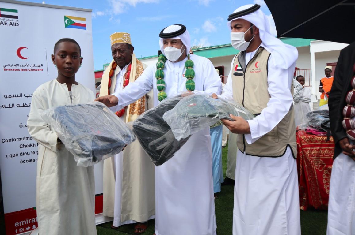 """""""الهلال الإماراتي"""" يفتتح المرحلة الأولى من المشاريع التنموية للمتأثرين من إعصار """"كينيث"""" في القمر المتحدة"""